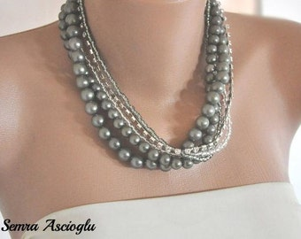 Silver Pearl Necklace ,Bridesmaids Gifts, Vintage Inspired Multi Strand Necklace