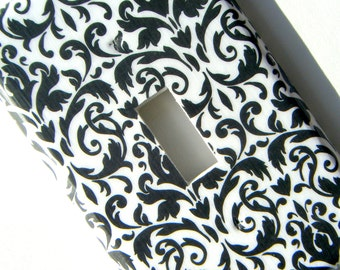 Damask Light Switch Cover -- Black and White