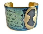 Jane Austen brass cuff bracelet Pride and Prejudice Quote jewelry Free Shipping to USA aluminum Gifts for her