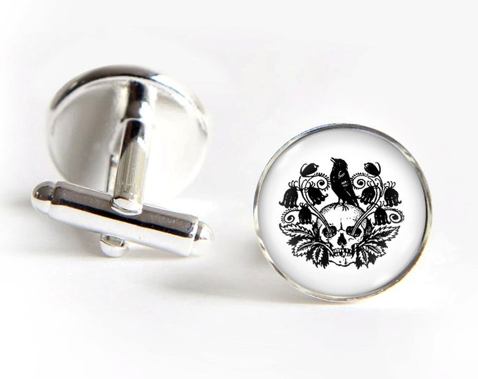 Day of the Dead Cufflinks silver 18mm cuff links Gifts for him