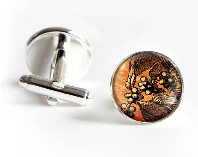 Coffee Tree Cufflinks silver 18mm cuff links Gifts for him
