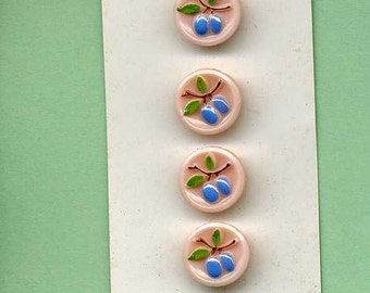 Buttons On Their Original Card - Four Glass Plums - Western Germany