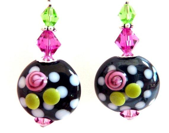 Rose on Black Glass Earrings, Rose Lime Green White Black Glass Beaded Earrings, Polka Dot Earrings,  Lampwork Earrings, Fun Earrings