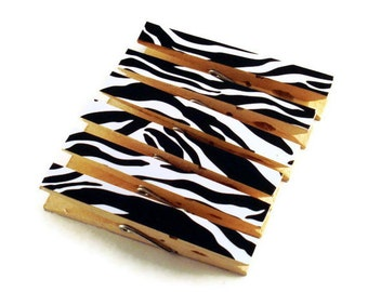Decorative Clothespins Altered Clothespins Magnetic Clothespins in Zebra
