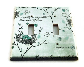 Double Light Switch Cover  Wall Decor Switchplate  in Birds Nest (226D)