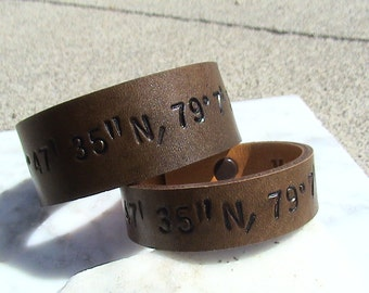 His and Hers - Nautical, Latitude & Longitude - For Your Eyes Only - Secret Message Leather Wristbands - set of two