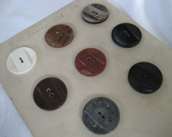 Set of 8 Large VINTAGE Carved Plastic Sample Card BUTTONS