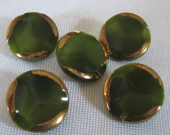 Set of 5 VINTAGE Olive Green Glass Gold Trim BUTTONS