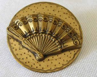 Large Antique Gold Metal Hand Fan BUTTON