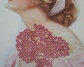 Rose Pink Venice lace Paisley Applique/ Jewelery/Lingerie/ Altered Couture/ Crazy Quilts