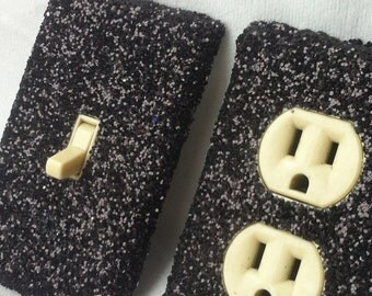 Midnight Black Glitter Switchplate Outlet Double Triple Quad Rocker Blank Cable Dimmer