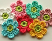Crochet Flowers Floral Pink Yellow Lime Blue x 7