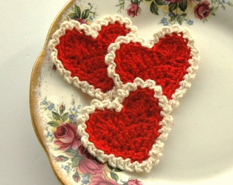 Red and Cream Crochet Hearts