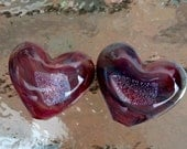 2  Handmade Lampworked Glass HEART BEADS