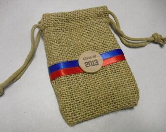 Graduation Favor Bags - SET OF 10 Burlap Bags with School Colors - 3x5 - Item 3B1534