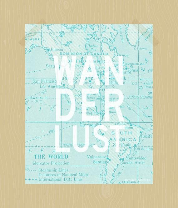 Wanderlust Print Travel Quote Print Digital Print Adventure World Map Printable in Light Aqua Blue 8 x 10 Wall Art