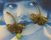 Bronze Patina Cast Ginkgo Leaves Charms 2229BRZ x2