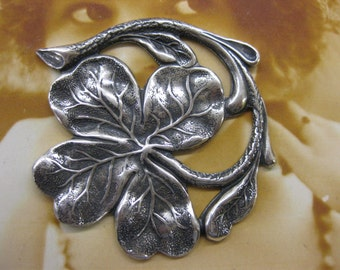 Silver Ox Plated Four Leaf Clover Shamrock Stamping 2242SOX x1