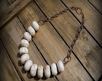 ON SALE- Great White Buffalo, Western Cowgirl Southwestern Boho White Turquoise Stone Necklace