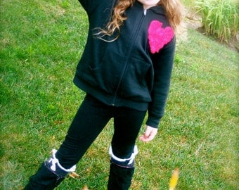 Toddler Girl Hoodie with Pink Rosette Heart with pockets Flower Girl Sweater sweatshirt Toddler jacket