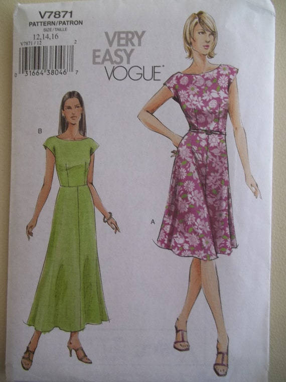 Vogue 7871 Cap Sleeve Dress Pattern By Patternparlor On Etsy