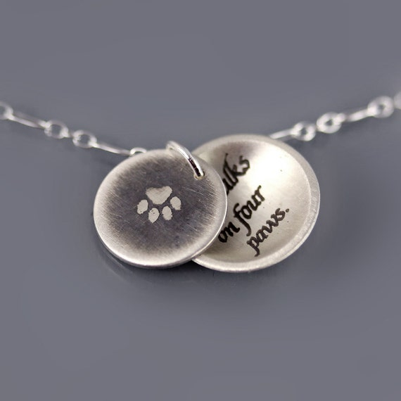 RESERVED for Deb: Paw Print/ Love Walks on Four Paws Necklace