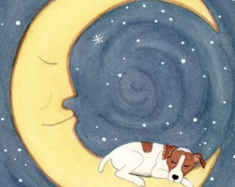 Jack Russell Terrier (JRT Parson) sleeping on the moon / Lynch signed folk art print