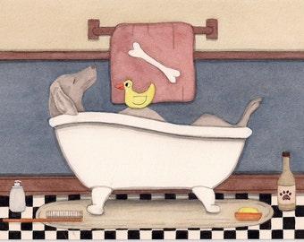 Weimaraner fills a tub at bath time / Lynch signed folk art print