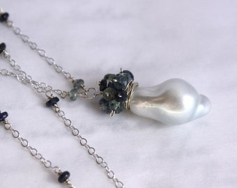 Baroque South Sea Pearl Necklace with Sapphires in 14K Solid Gold - One of a Kind - SALE 50% OFF