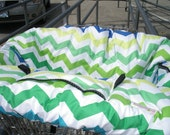 Shopping Cart cover  for boy or girl.....Chic Chevron in Lagoon