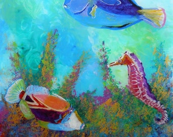 Hawaiian Tropical Fish 3 Original Reverse Acrylic Painting by Marionette from Kauai Hawaii blue pink orange coral