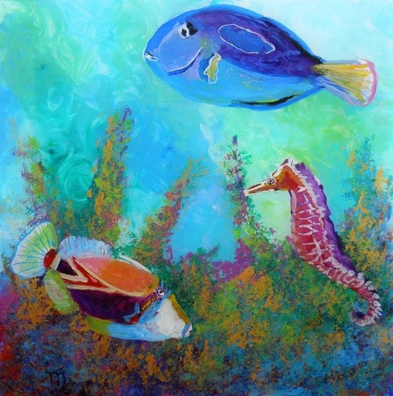 Hawaiian tropical fish 3 original reverse acrylic painting by for Tropical fish painting
