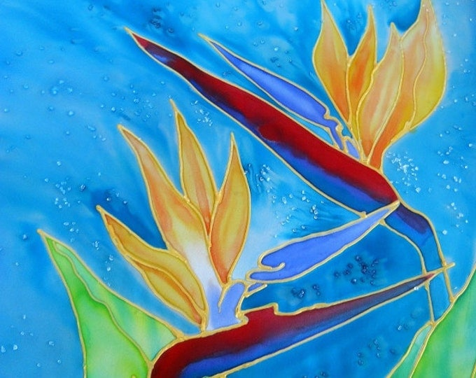 Bird of Paradise Art, Tropical Flower paintings, silk painting print, Hawaiian decor, Kauai wall art, gifts for women, exotic flower art