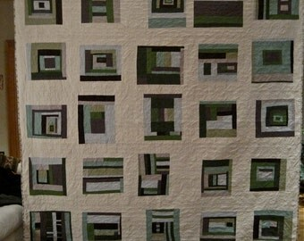 Lap Size Quilt, Log Cabin Variations, Made to order