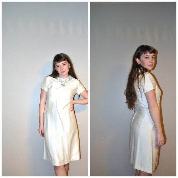 Mod wedding dress / vintage 1960s / raw silk / short wedding dress