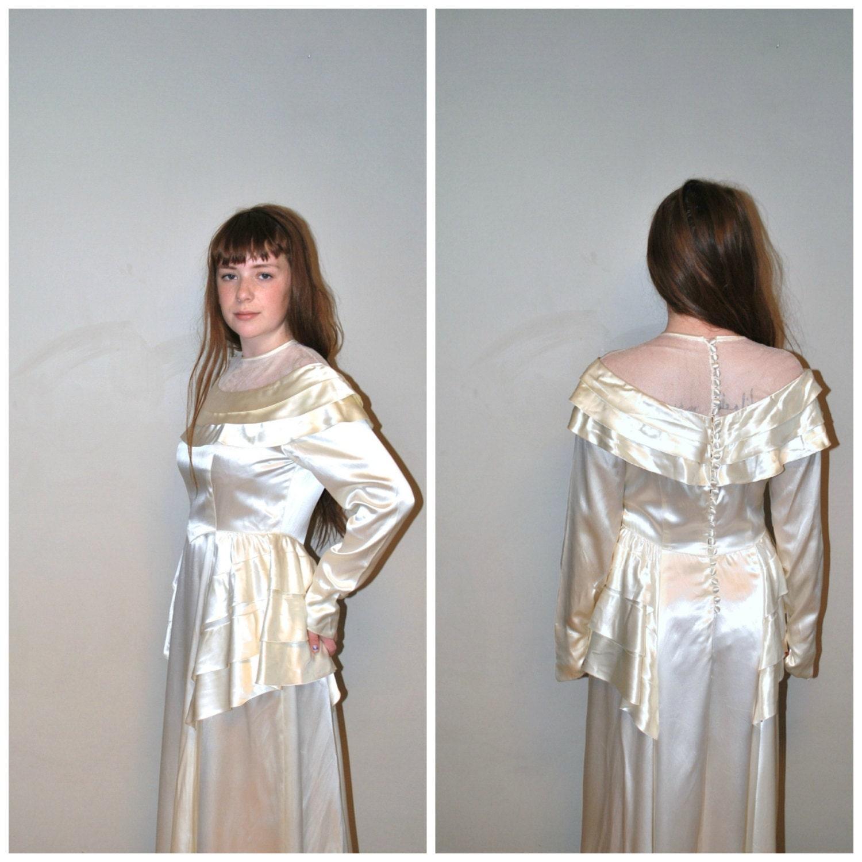 Vintage 1940s Wedding Dress / White Liquid Satin / Vintage 40s