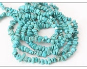 Nevada Turquoise beads, genuine turquoise nugget chips, full strand nugget beads, rare robins egg blue large stone chips, bead supplies SALE