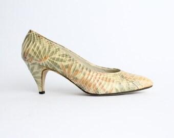 size 6 | Vintage Snakeskin Shoes | Floral Print Snakeskin Court Shoes | Pastel Leather Pumps | 36