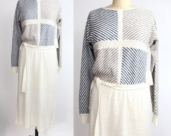 Vintage Striped Knit Dress | Striped Sweater Dress | Natural Flax and Navy Dress | New with Tags
