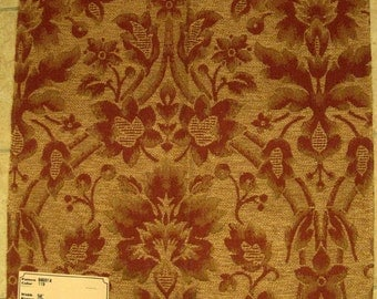 Embossed Floral Enchantment Upholstery Designer Fabric Sample Jute Rust