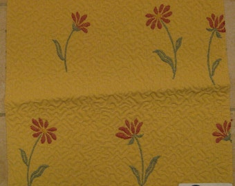 Floral Matelasse Loches Provence Pindler Designer Fabric Sample Yellow Ivory