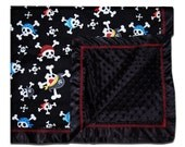 Pirates Bounty Minky Dot Blanket  by MamaSan and Miso Punk- shower gift