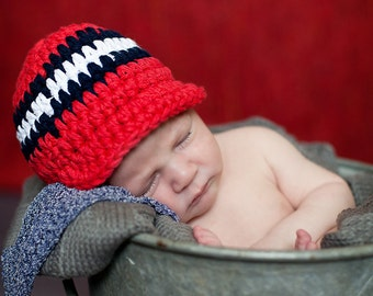 Baby Boys Hat 0 to 3 Month Red Baby Hat Navy Blue Baby Hat White Baby Hat Fourth of July 4th of July Patriotic Baby Hat Photography Prop
