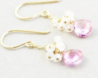 Pink Topaz Dangle Earrings, Moonstone Cluster Earrings, Bridesmaid Gift