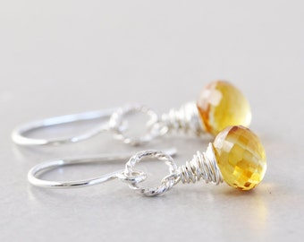 Citrine Dangle Earrings, Yellow Drop Earrings, Bridesmaid Gift, Handmade