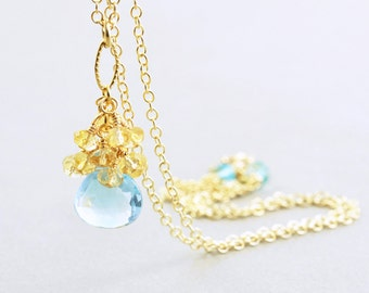 Blue Topaz Drop Necklace, Citrine Necklace, December Birthstone