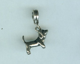 2 Silver BASSETT HOUND DOG Bead Charms for all Name Brand Add a Bead Bracelets