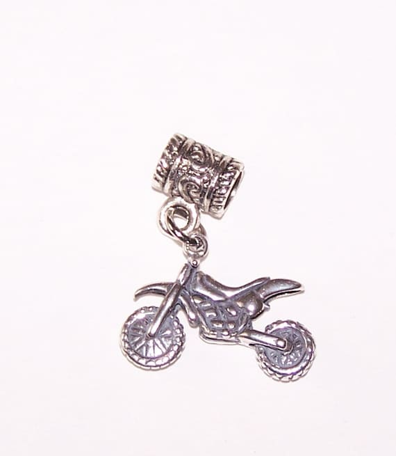 sterling 3d dirt bike bead charm for trollbead european and