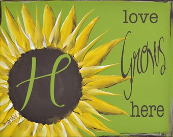 Personalized Monogram Sunflower Love Grows Here Canvas 11x14 Art