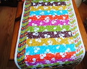 Quilted Table Runner Bright Stripes Wallhanging Quilt